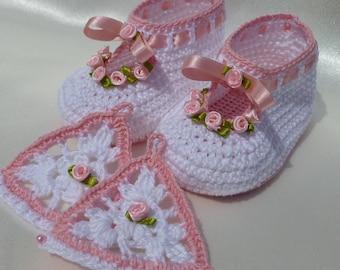 Instant Download Crochet PDF Pattern - ROSY christening baby set