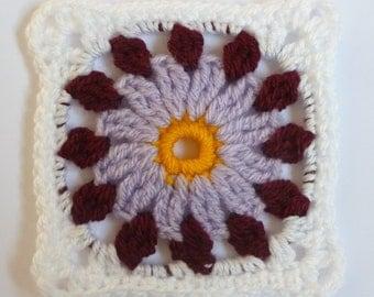 Instant Download Crochet PDF pattern - LD-0113 floral afghan block
