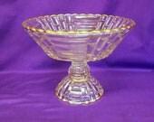 Vintage Large Glass Compote or Fruit Bowl, Gilded