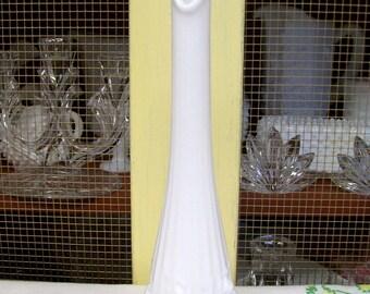 Fenton Milk Glass Swung Vase, Rose Pattern