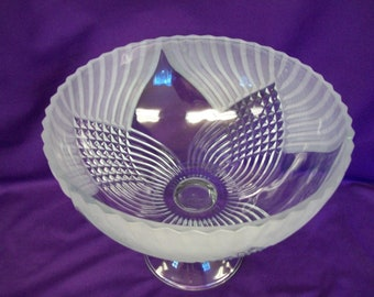 Large Footed Fruit Bowl, Frosted Glass