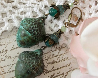Large Verdigris Acorn, Czech Crystal Bead-cap, Green Onyx and Czech Bicone Crystal Dangle Earrings