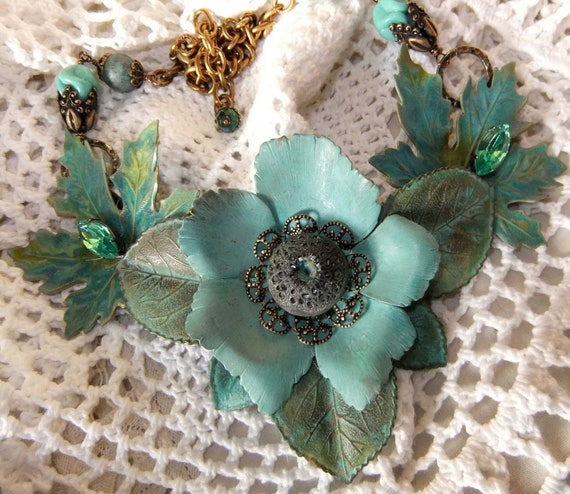 Flower and Leaves Verdigris Neckpiece with Vintage Beads, Button and Marquis Crystal