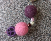 Keyring with needle felted balls and peace sign gift under 10 dollars eco friendly