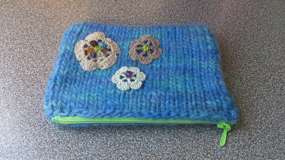 Knitted felted zipper purse gift under 15 dollars eco friendly