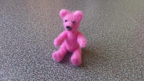 Needle felted pink miniature teddy bear stocking stuffers gift under 25