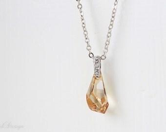 40% OFF - Swarovski Crystal Polygon Drop Necklace - Small
