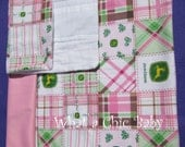 John Deere Pink Baby Changing Pad and Burp Cloth Set