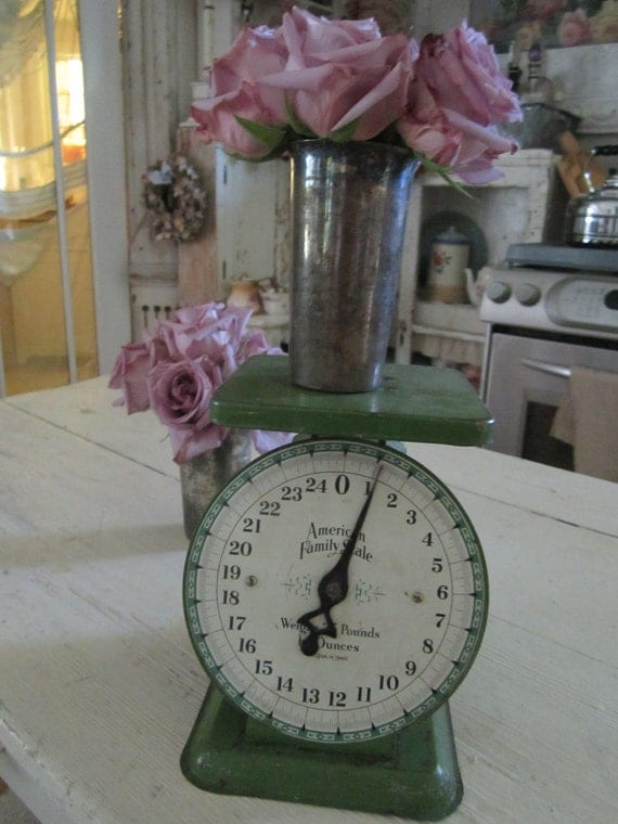 Vintage chippy painted original green farm scale shabby chic prairie cottage chic