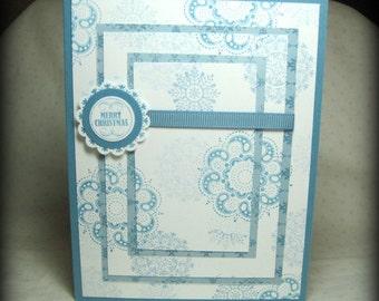 Snowflake Christmas Card - Triple Time Card - Holiday Snowflake Card - Christmas Note Card