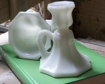 Vintage Wedding Candle Holders--Milk Glass--Set of 2--Wedding Decor--SALE!!!