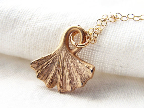 Matte Gold Ginkgo Leaf Necklace. Gold Filled Chain and Clasp. Bridesmaid Gift. Simple Modern Jewelry