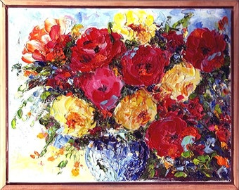 Old fashioned Roses, Home, Dining, Kitchen Decor, Original  Framed Textured  Oil Painting by ebsq Artist Ricky Martin  FREE SHIPPING