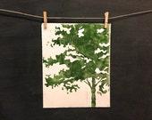 Tree Silhouette - Hand Pulled Print - Linocut