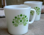Set of 2 Pyrex Lime Green Floral D Handled Cups / Mugs MADE IN USA