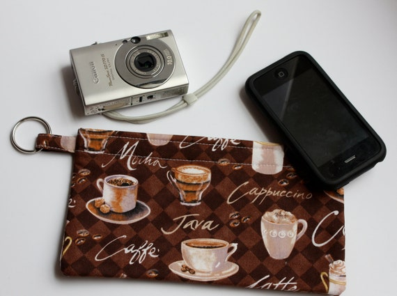 Pencil, Camera, Electronics, Makeup, Coupons, Phone pouch with split key ring coffee mocha cappuccino java latte caffe
