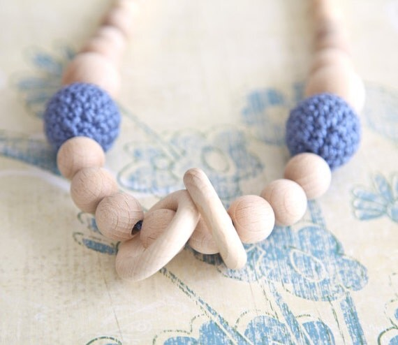 Blue nursing rings necklace. Girls crochet necklace. Mammy and baby teething necklace.