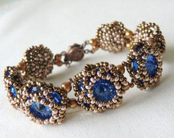 Glamorous Blue Flower Bracelet Swarovski Rivoli Bracelet Statement Bracelet Seed Bead Bracelet Perfect match with your LBD