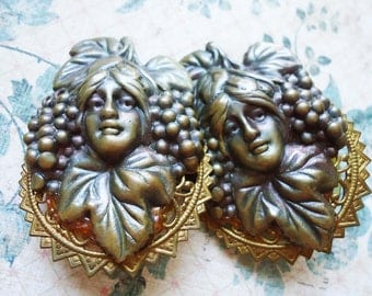 Vintage Art Nouveau Repurposed Earrings