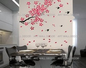 Pink Red Falling Cherry Blossom with flying Sparrows - PEEL and STICK Removable Vinyl Wall Decal, Wall Sticker, Wall Decor (FREE shipping)