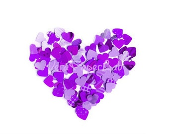 Little hearts punches in violet and purple shades - confetti