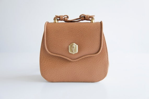 Reserved for Lauren Vintage Kieselstein Cord Caramel Leather Purse with Gold Alligator Hardware