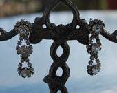 Vintage dangle RHINESTONE glamour pierced EARRINGS