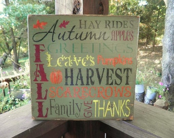 Fall , Autumn sign, fall decorations, harvest sign, subway fall art. green, with  multi color words