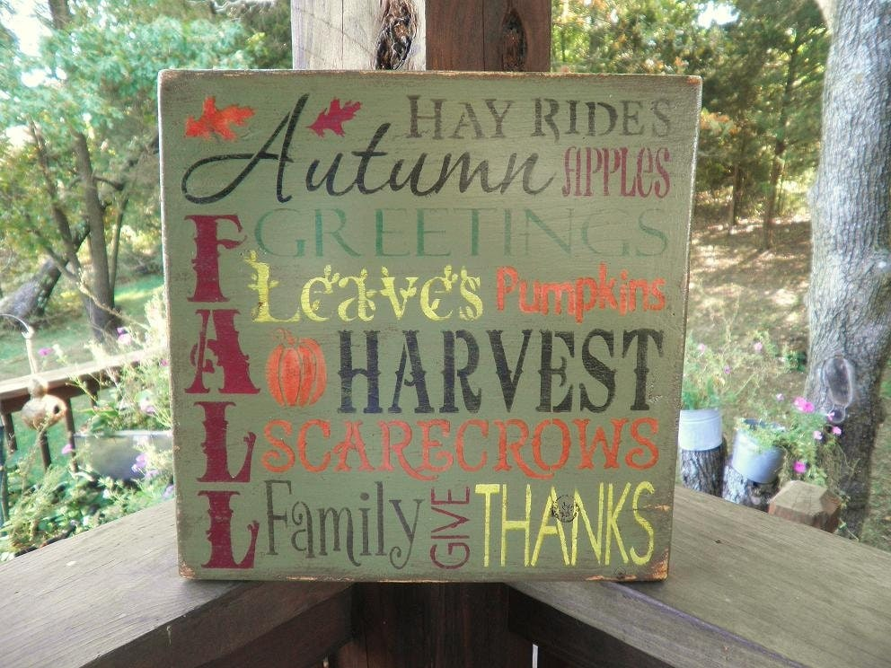 to Fall , Autumn sign, fall decorations, harvest sign, subway fall ...