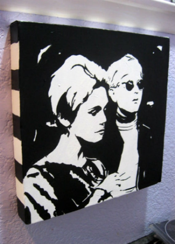 "Edie Sedgwick/Andy Warhol Painting 12""x12"" box canvas (ready to hang)"