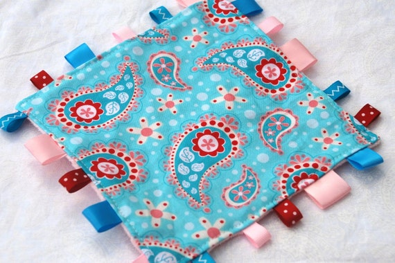 Taggie Lovey Toy Pink and Blue Paisley