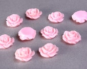 11mm Lucite rose resin flower cab cabochon pink - Flower cabochons - 10 pieces (776) - Flat rate shipping