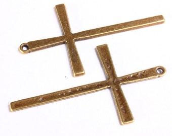5 cross charm pendant antique brass antique bronze 61mm x 36mm 5pcs (721)