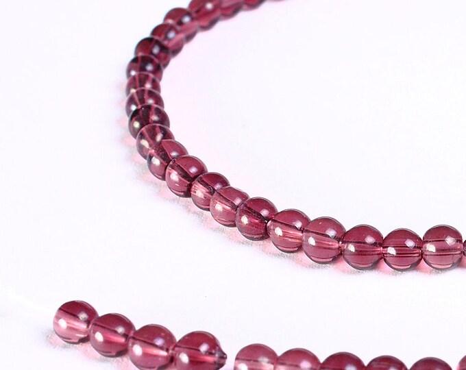 4mm purple beads - 4mm glass beads - 4mm round beads - round glass beads (747) - Flat rate shipping