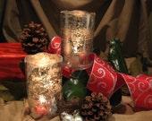Mercury Glass Hurricane Candle Shade/Holder - Set of 2