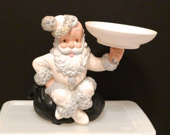 Santa Candy Bowl Atlantic Mold Co Vintage 1960s Christmas Ceramic Sculpture White Saint Nick with Silver Metallic Accents Holding a Bowl