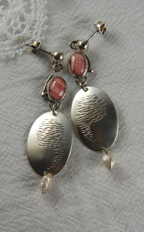 Designer Statement Earrings in Sterling Silver with Rhodochrosite Gemstones and Cultured Pearls, gifts for her, statement jewelry