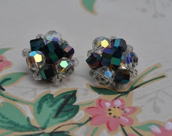 Sparkly Clip Earrings, Aurora Borealis Jet Crystals