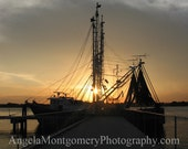 Silhouette of Fishing Boat at Sunset - 5x7 fine art print