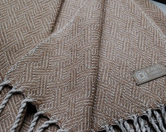 Silk and Baby Alpaca Handwoven Throw- Camel/Fawn