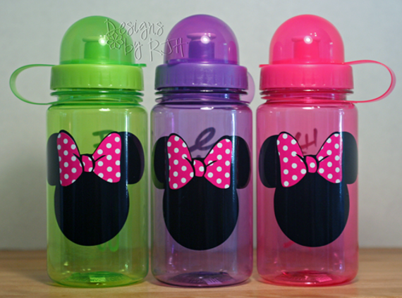 Minnie Mouse With Bow Silhouette (Or Mickey) - 15oz Personalized Sports Water Bottle - For Kids - Party Favors, Gifts - Fun Colors