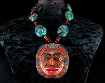 Turquoise Necklace, Moon Necklace, Moon Mask Necklace, Native American Jewelry Shaman Necklace American Indian Necklace Shaman Mask