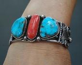 Lovely Vintage Navajo Tommy Jackson Morenci Turquoise Mediterranean Coral Bracelet 110 grams