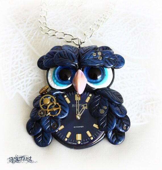 Steampunk owl. Black owl pendant. Clay bird. Clay owl.  Polymer clay. Steampunk necklace.