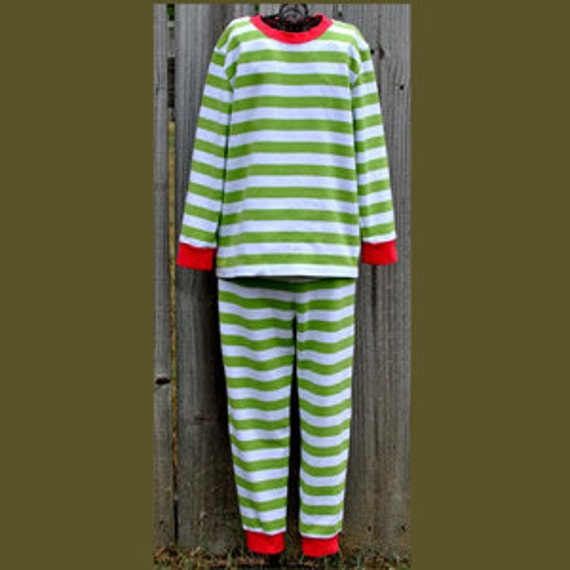 Red and Green Christmas Unisex pajamas personalized or appliqued