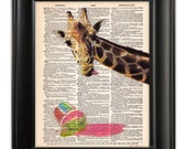 GIRAFFE Melted Ice Cream ORIGINAL Art Hand Painted Mixed Media Print Illustration on Antique English Dictionary Book Page 8x10