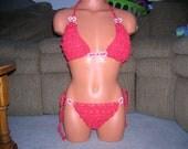 Bikini - Crochet Bikini - lingerie - Red Lace with Hearts