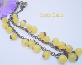 Yellow Gemstone Necklace Yellow Calcite and Brass Necklace  Lemon Yellow Pale Yellow Wire Wrapped Necklace Spring Jewelry