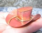 Vintage Metal Hat Brooch Hand Made Rustic