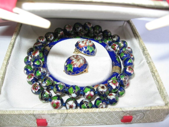 Vintage Cloisonnne Bangle Earrings Necklace in vintage gift box